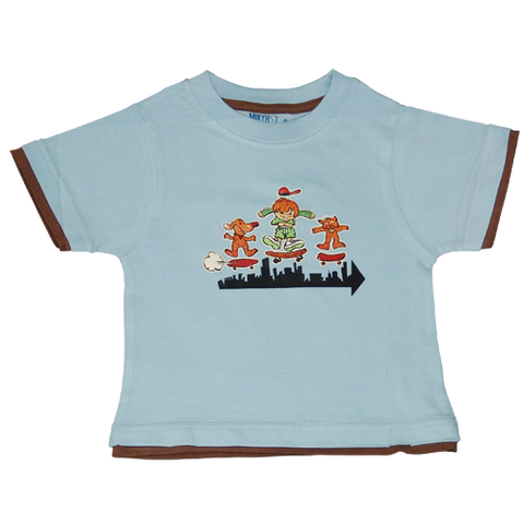 Boys Light Blue Tshirt Skateboarding