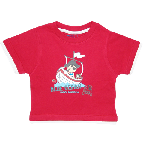 Boys Red Tshirt Pirate