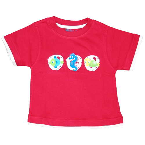 Boys Red Tshirt Sea Animals