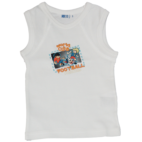 Boys White Muscle Top Football