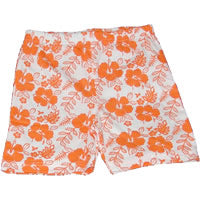 Girls Hibiscus Cotton Shorts – Orange