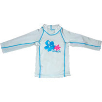 Girls Long Rashie White - Size 8-9