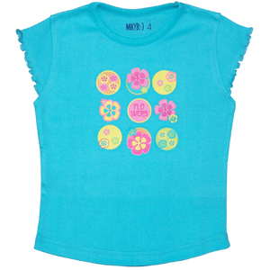 Girls Aqua TShirt Retro Flowers