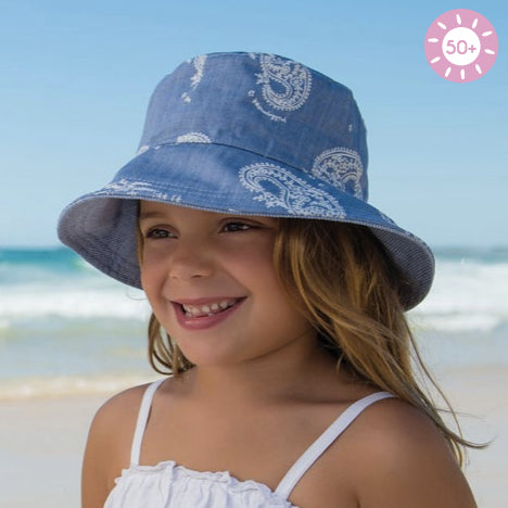 Image of Girls Charlie Ponytail Sun Hat – Reversible
