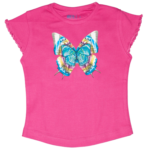 Girls Hot Pink T Shirt Butterfly