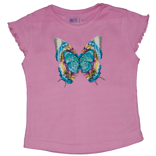 Girls Pink Tshirt Butterfly