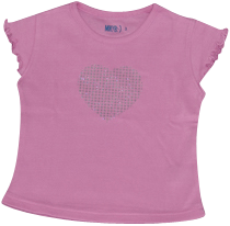 Girls Pink Tshirt Silver Heart
