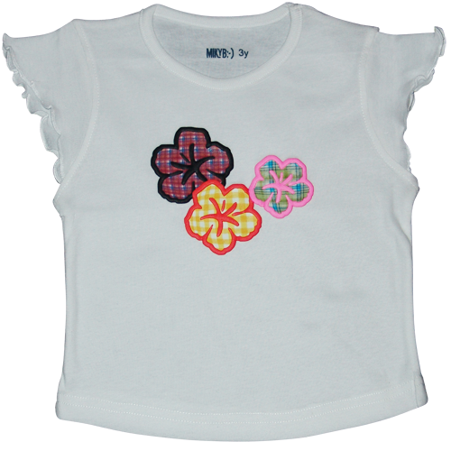 Girls White Tshirt 3D Flowers