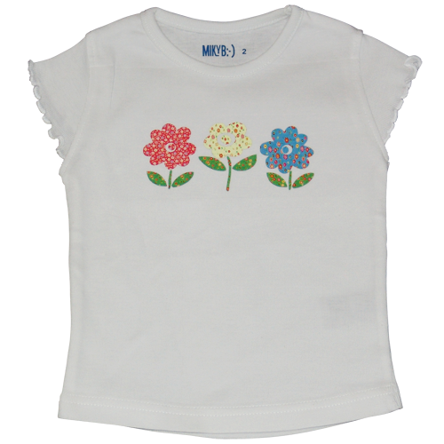 Girls White Tshirt Patch Flowers