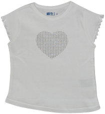 Girls White Tshirt Heart