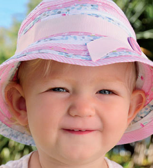Baby Girls Patchwork Bucket Hat - Pink