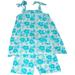 Hibiscus Dress & Shorts – Aqua Blue