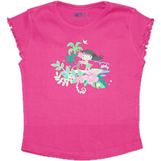 Girls Hot Pink T Shirt - Hula Girly