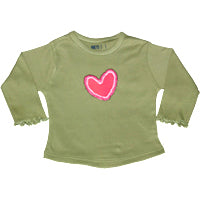 Khaki Long T - 3D Heart