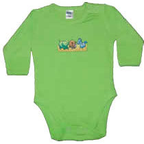 Long Green Bodysuit - Zoo Animals
