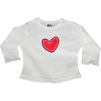 White Long T - 3D Heart