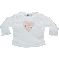 White Long T - Glitter Heart