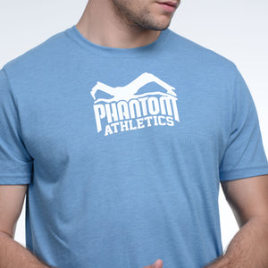 Phantom Athletics T-Shirt Team Tee Shirt Kurzarm Shortlseeve Sportlich Freizeit Gray Hellblau blau light blue Meliert