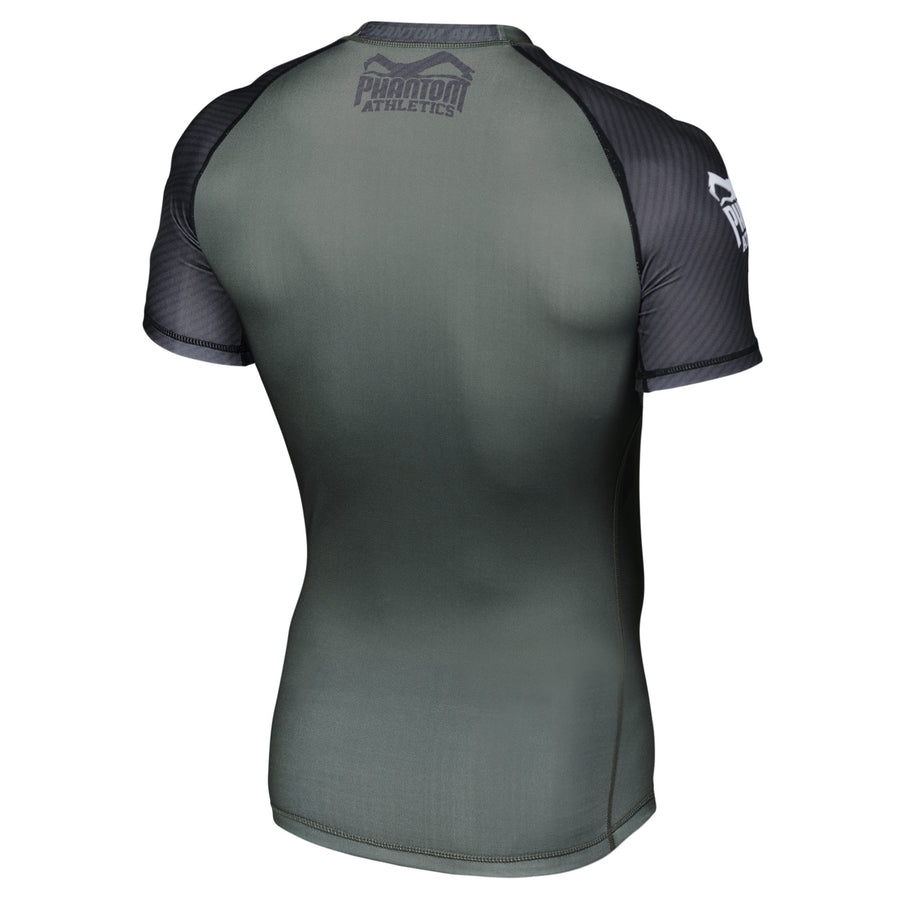 Phantom Athletics Kompressionsshirt Compression Shirt Shortsleeve Rashguard Grün Schwarz Green Black Carbon