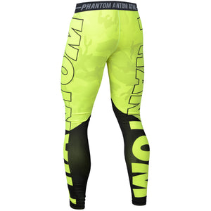 Phantom Athletics Tights Domination Camo Legging Compression Pants Bottoms Kompression Neon Fluo Gelb Yellow