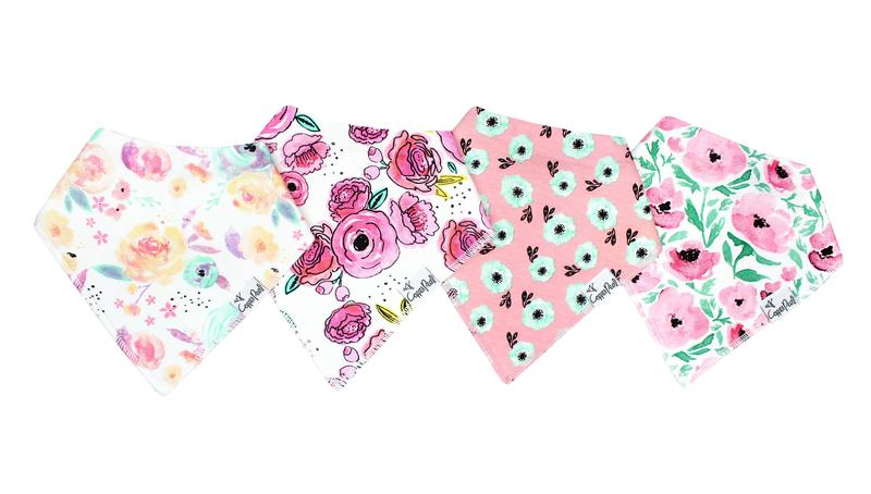 Pink, purple and white flower designs, cotton and polyester blend