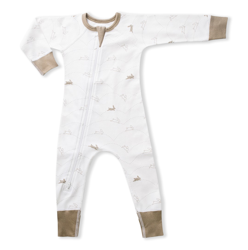 Bunny print white and brown baby zip romper