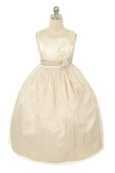 Champagne coloured flower girl dress with bow
