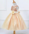 Champagne sequin upper with tulle skirt
