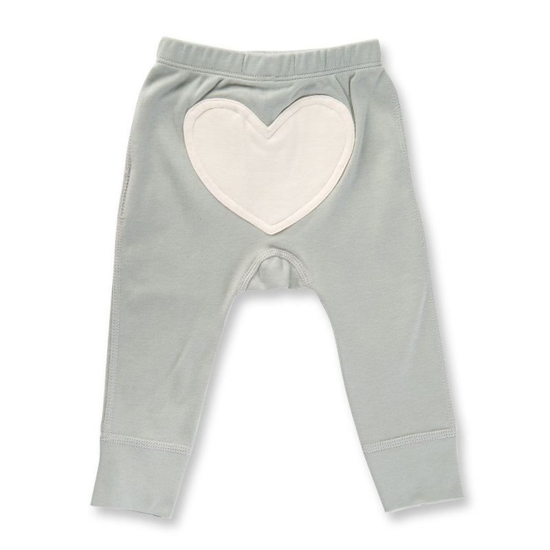 dove grey pants with white heart on bottom for baby