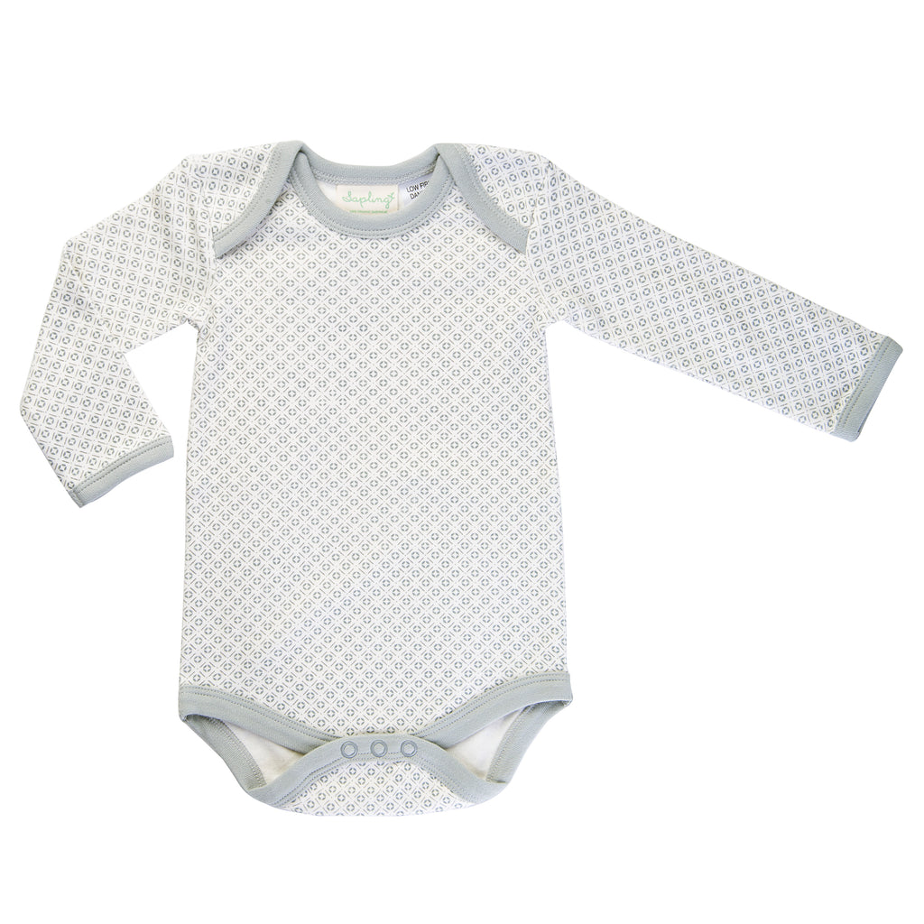Grey and white pattern long sleeve body suit for baby
