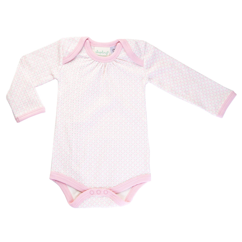 Pink and white pattern long sleeve body suit