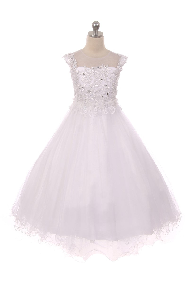 White flower girl dress with plenty of embroidery and detail to upper