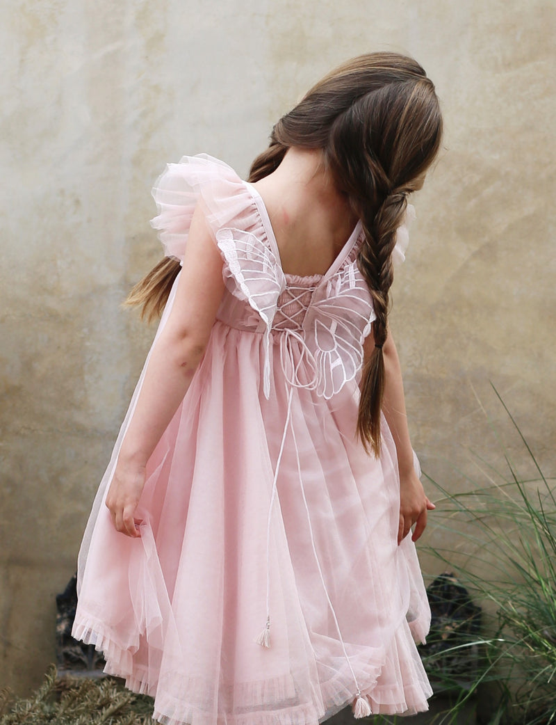 light pink, soft cotton lining, organza wings on back