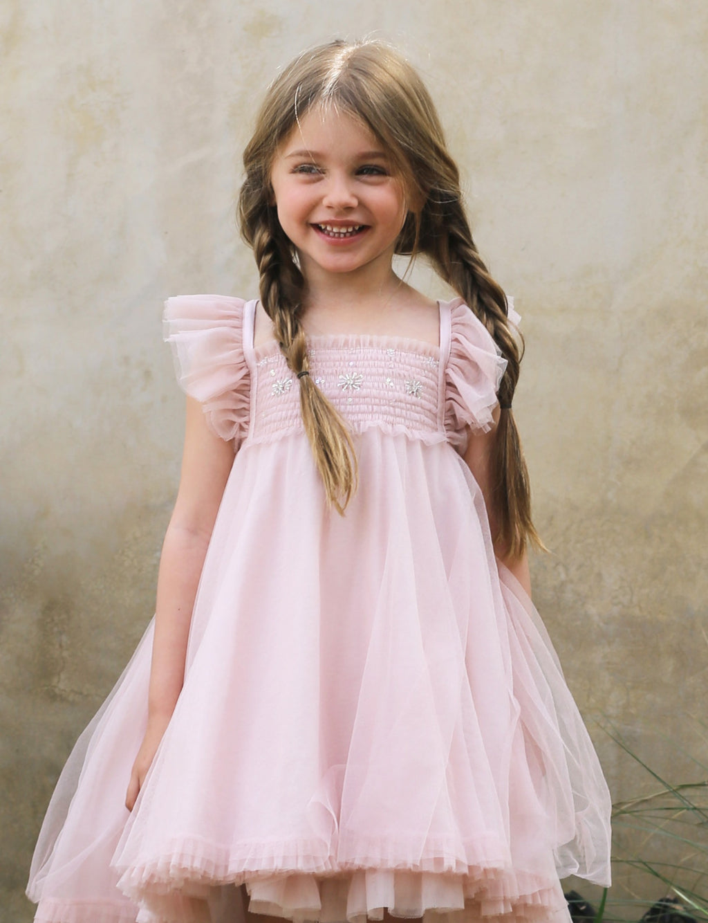 light pink, soft cotton lining, hand beading and organza butterfly wings