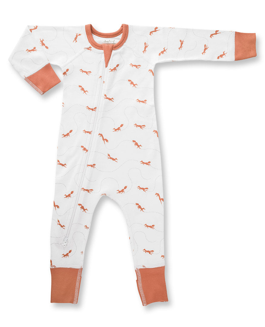 white zip romper with orange fox print for baby