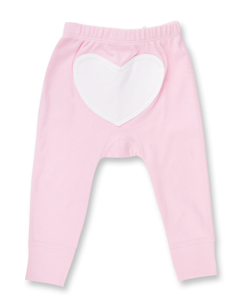 pink baby girl pant with heart shape on bottom