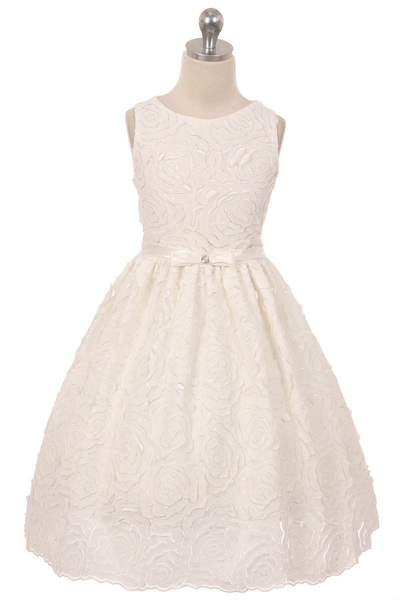 Ivory rosette design flower girl dress