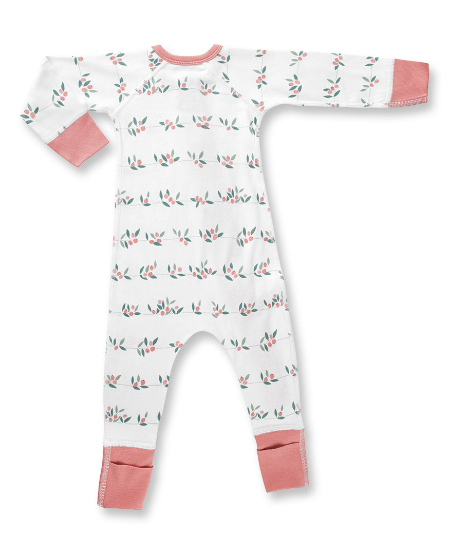 Zip romper for baby with berry bud print and 2 way zipper