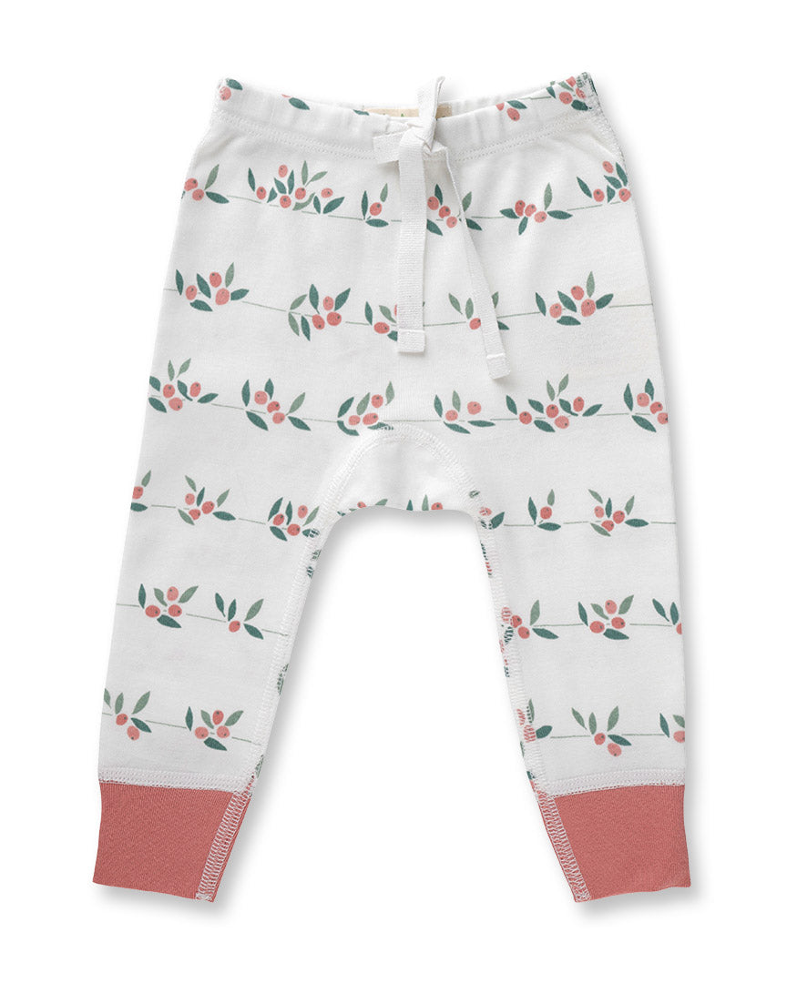 white pants with berry bud print and drawstring at waist
