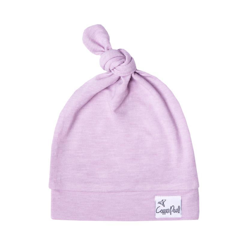Lilac top knot hat
