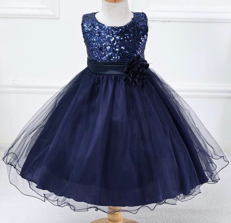 Navy tulle with sequin upper