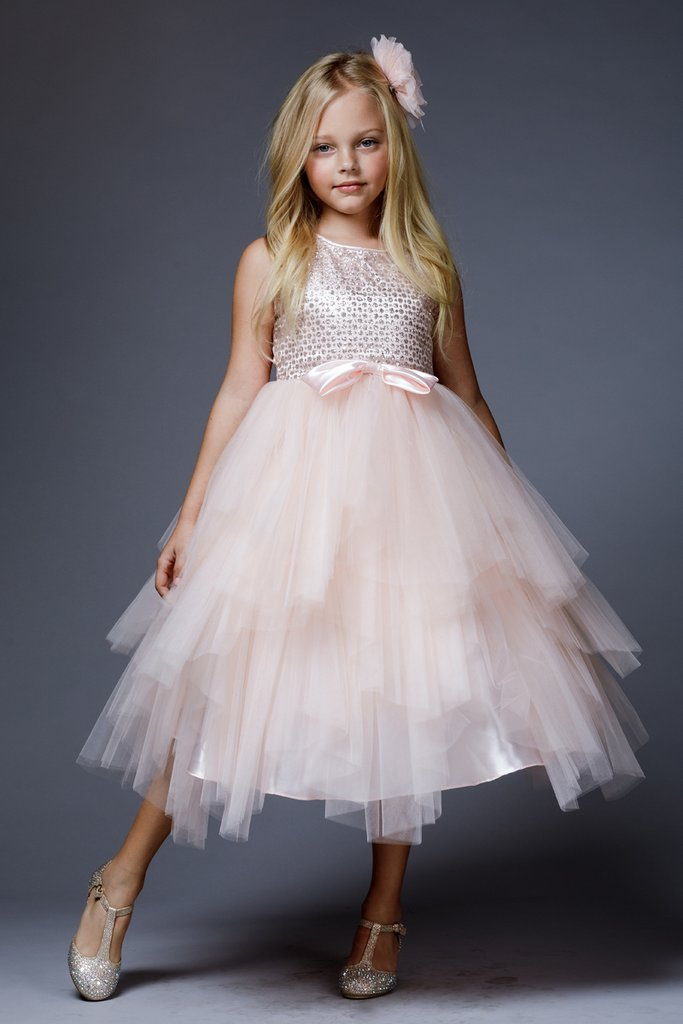 Pink sequin upper with layers of tulle skirt