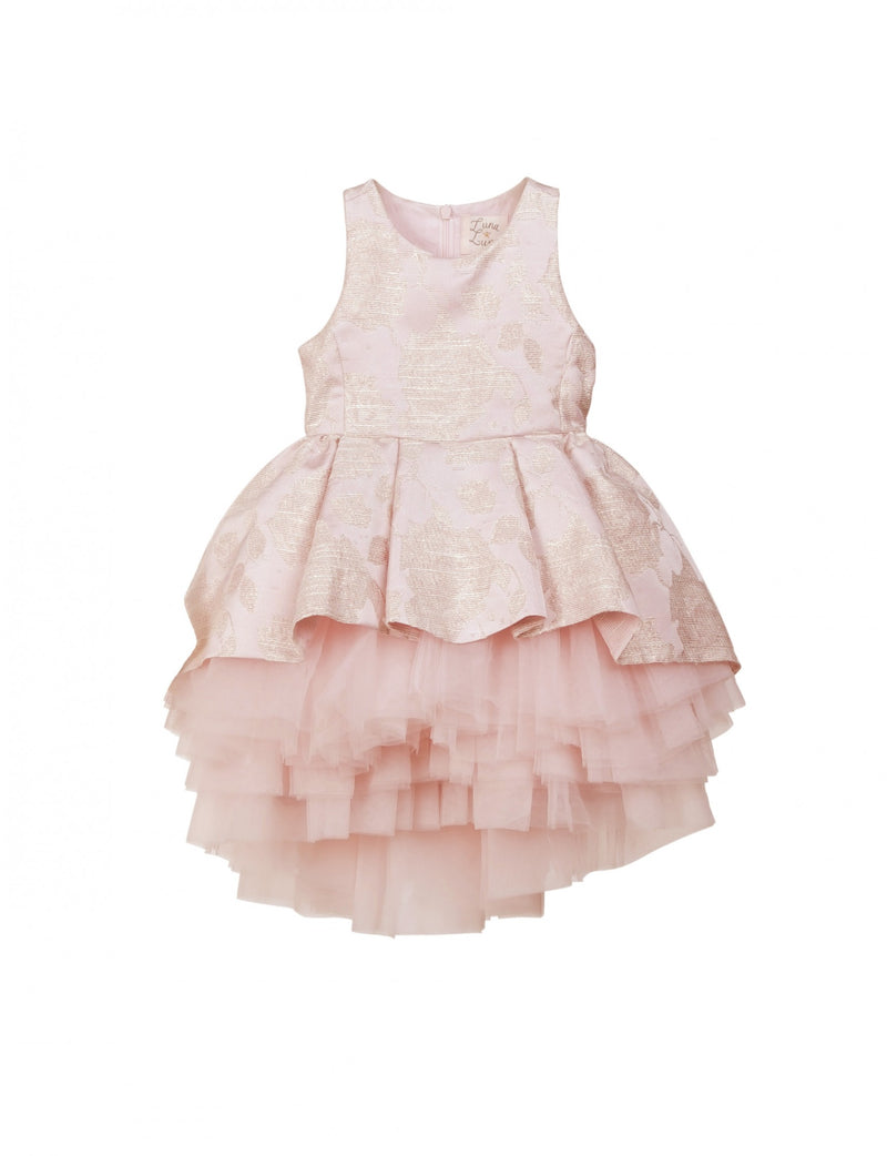 Pink dress with metallic jacquard print and soft lining with layers of tulle
