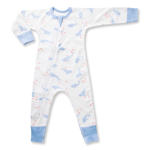 white and blue boys zip romper with sharks and whale pattern