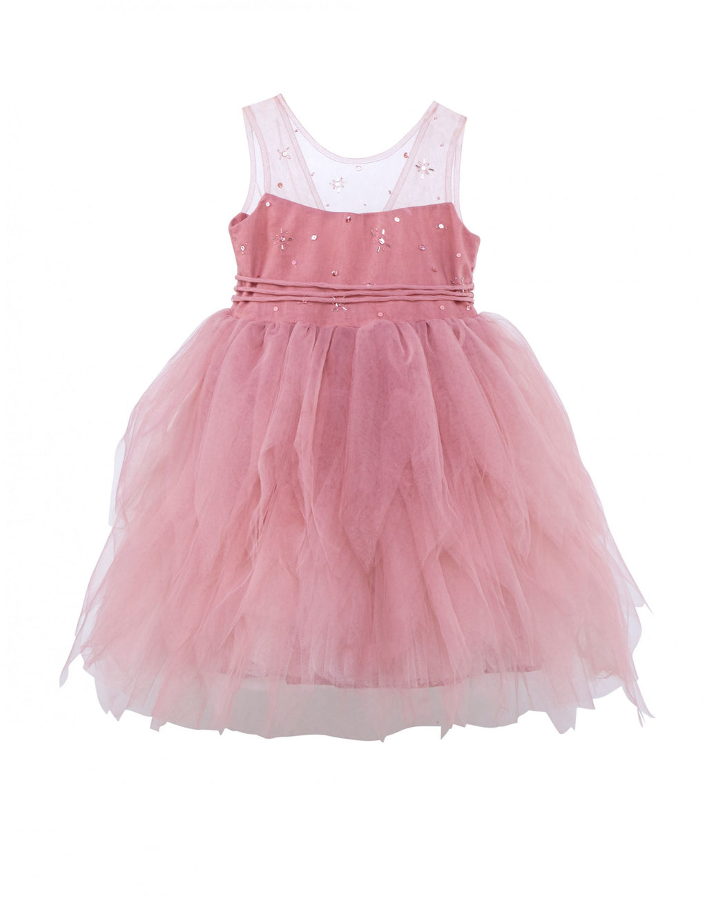 Pink cotton and tulle dress, soft and full