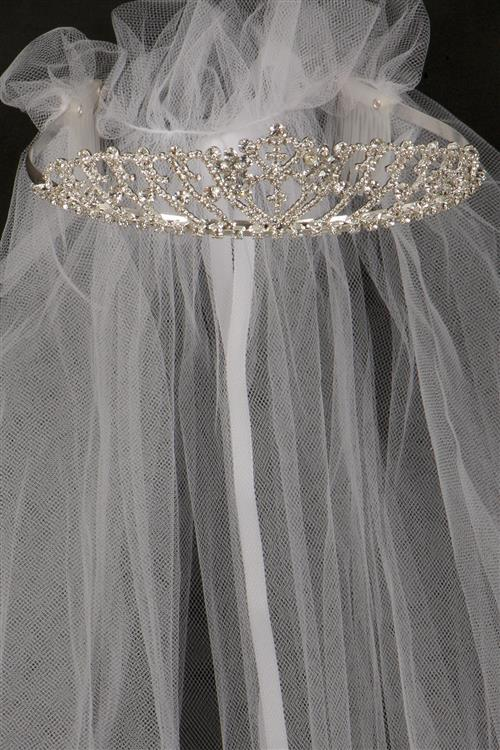 doutle cross tiara with veil