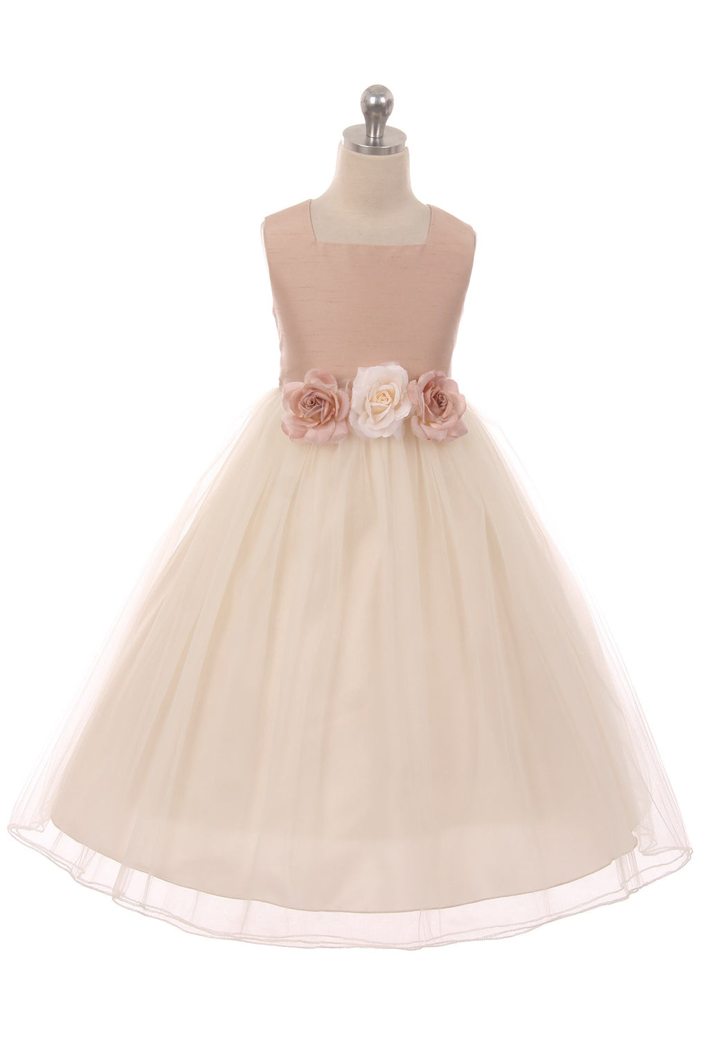 Dusty rose upper, ivory skirt, silk, satin and tulle with 3 flowers at waist