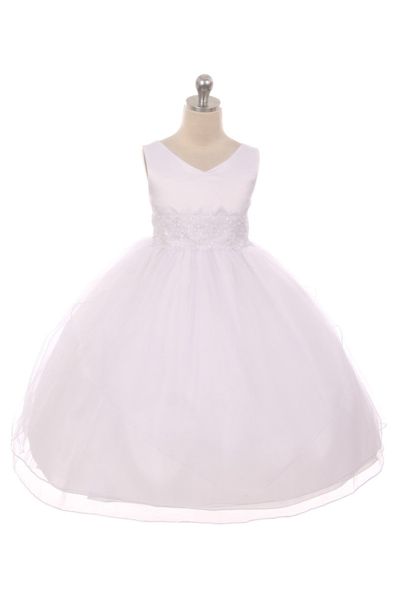 White long flower girl dress with lace trim and embroidery