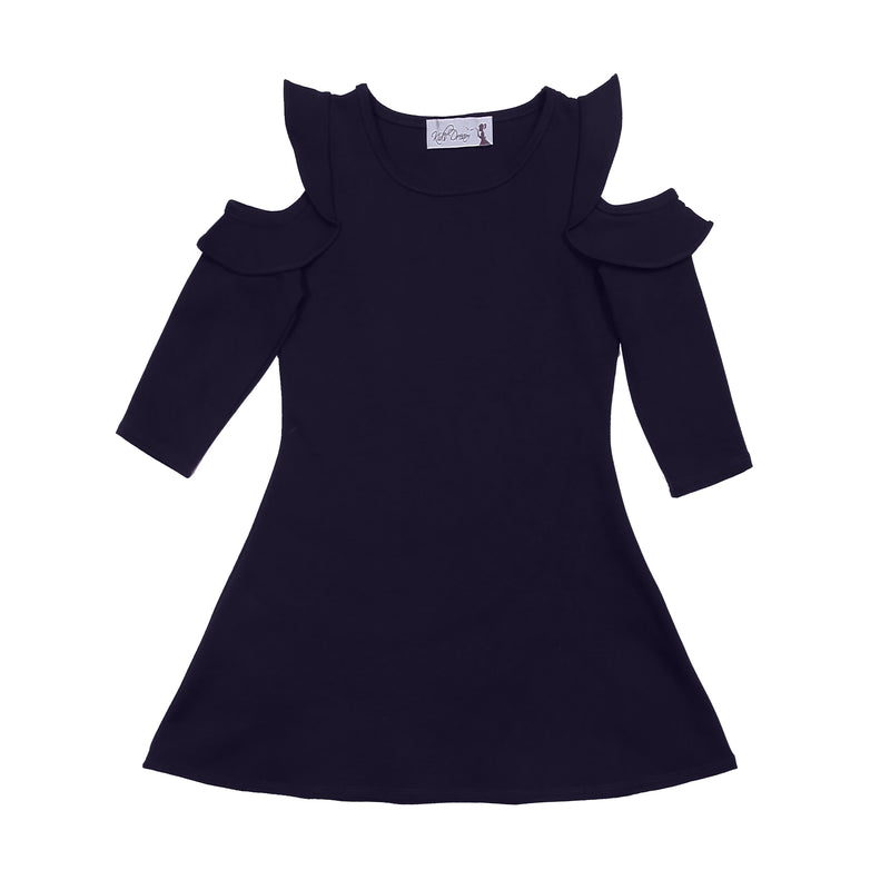 Mulberry or navy cut out shoulder knee length dress for girls