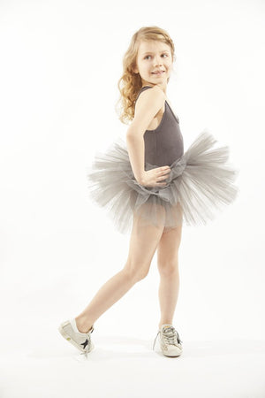 Dark grey tutu with plenty of tulle and snap crotch